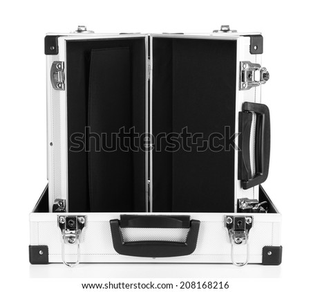 Silvery suitcases isolated on white - stock photo