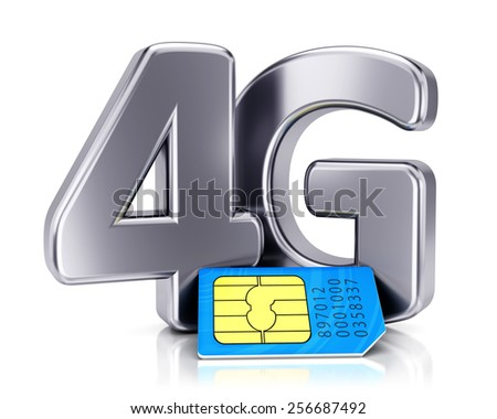 SIM card and 4G icon isolated on white background. Mobile communication technology and wireless high speed internet connection concept. - stock photo
