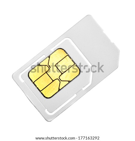 SIM card close-up isolated over white background  - stock photo