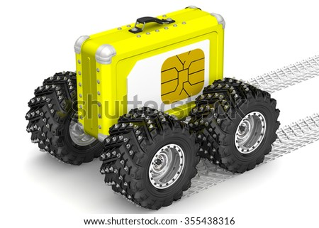 SIM-card for travel. Yellow suitcase on wheels and SIM card on the side. The three-dimensional illustration. Concept - stock photo