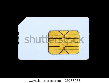 Sim Card isolated on black background - stock photo