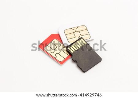 sim card,sim card adapter, sim card eject tool, digital media put on white background - stock photo