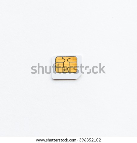 Sim card with white background.
