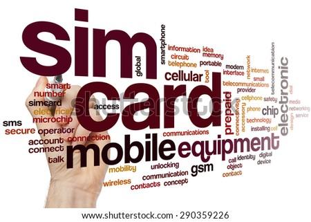 Sim card word cloud concept - stock photo