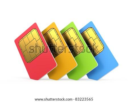 sim cards isolated on white background - stock photo