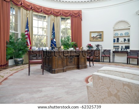 SIMI VALLEY, CALIFORNIA - SEPTEMBER 2:  Exact replica of Ronald Regan's White House oval office amazes visitors and educates school groups on September 2, 2009 in Simi Valley, California. - stock photo