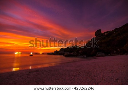 Similan islands in Thailand. The islands is most beautiful and clear water - stock photo