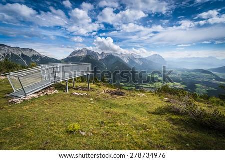 Simmering mountain within the Sonnenplateau in western Innsbruck, Austria - stock photo