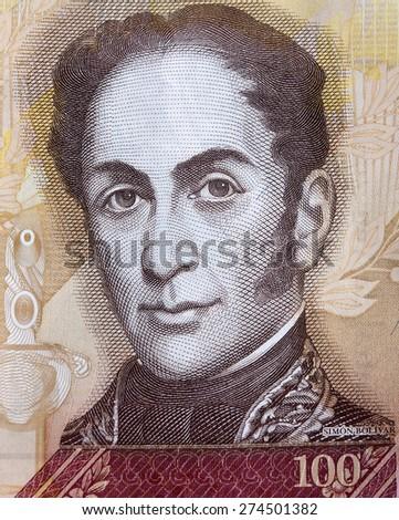 Simon Bolivar portrait on one hundred bolivares banknote - stock photo
