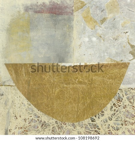 Simple abstract asian paper collage of a bowl.