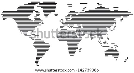 Simple abstract world map black and white