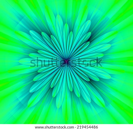 Simple and beautiful high resolution shining bright star/flower wallpaper in green, cyan and purple  colors and with a detailed decorative petals around it  - stock photo