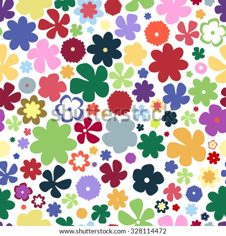 Simple and beauty flower seamless pattern. Multicolor raster illustration good for textile and paper wrapping print. Can be copied without any seams. Abstract floral original background.  - stock photo