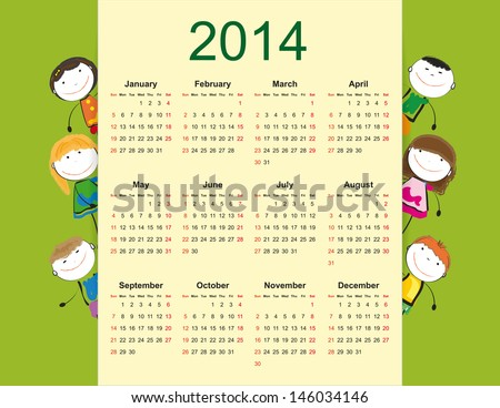 Simple and colorful calendar on 2014 year with happy kids