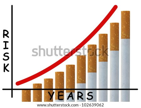 Simple bar graph with cigarettes indicating the health risks over time involved with chronic smoking habit isolated on white background. - stock photo