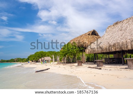 Simple beach huts on beach at Playa Blanca near Cartagena, Colombia
