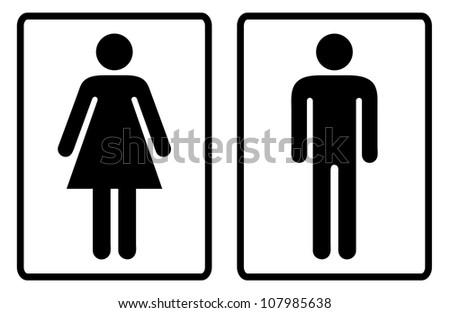 Simple Black And White Male Female Toilet Symbols