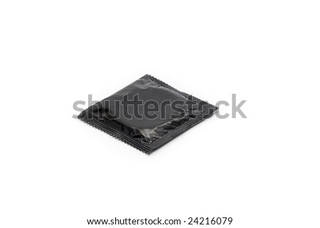 Simple black condom isolated on white background - stock photo