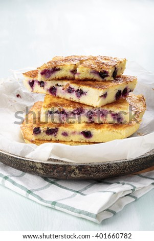 Simple black currant cake. Rustic style.