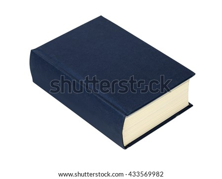 simple blue hardcover book isolated on white background with clipping path - stock photo
