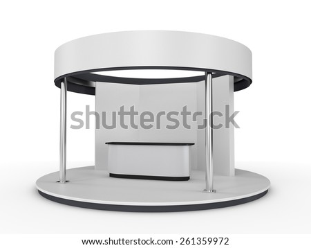 simple booth or stall on a circle base - stock photo