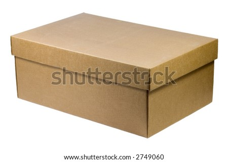 Simple box with lid closed, ready to customizing - isolated on white - stock photo