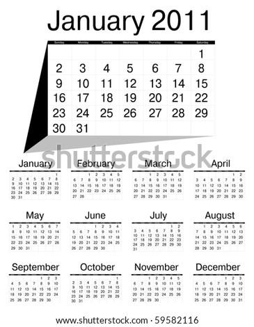 Simple calendar of 2011 - stock photo