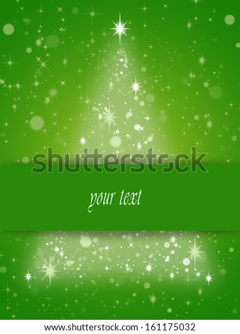 simple card with christmas tree symbol - stock photo