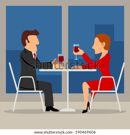 Simple cartoon illustration of a couple having a date - stock photo