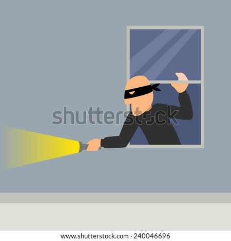 Simple cartoon of a burglar break into a house - stock photo