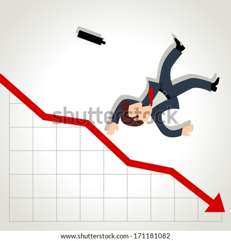 Simple cartoon of a businessman falling down from graphic chart - stock photo