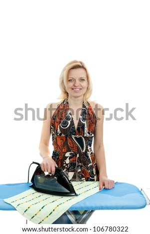 simple casual woman ironing clothes - stock photo