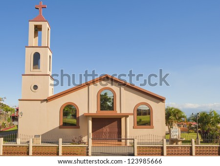 Simple Catholic church located in San Isidro de Grecia, Costa Rica - stock photo