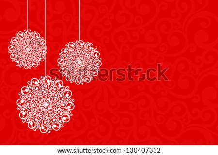 Simple Christmas card with floral motifs. - stock photo