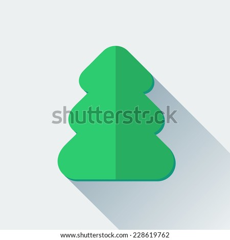Simple Christmas tree icon in flat style - stock photo