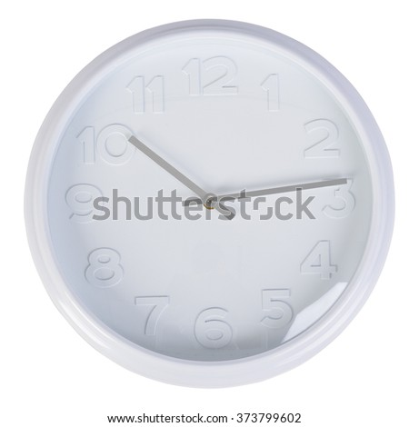 Simple classic white round wall clock isolated on white - stock photo
