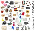 simple collage of isolated objects on white background - stock photo