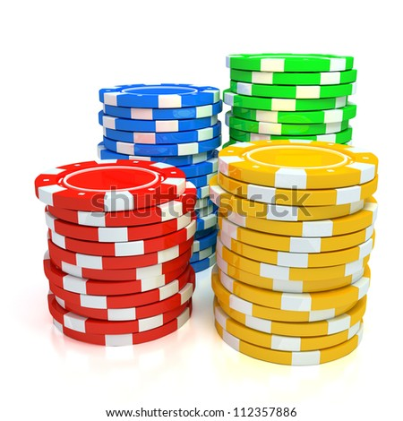Simple Colored Casino chips on white background