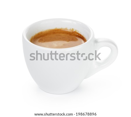 simple cup of double espresso in the cup, isolated on white - stock photo