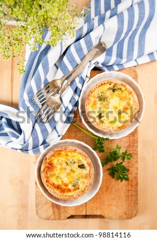 Simple Eggs, Onions, and Cheese Individual Mini Quiches - stock photo