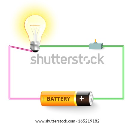 stock photo simple electric circuit electrical network switch light bulb wire and battery 165219182 electric circuit diagram stock images, royalty free images  at gsmportal.co