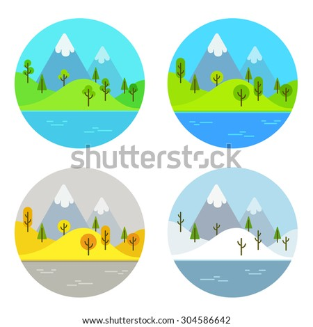 Simple flat cartoon landscape scene in four different seasons of the year - stock photo