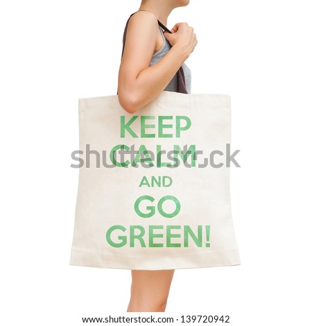 "Simple flax eco bag ""Keep calm and go green!"" - stock photo"