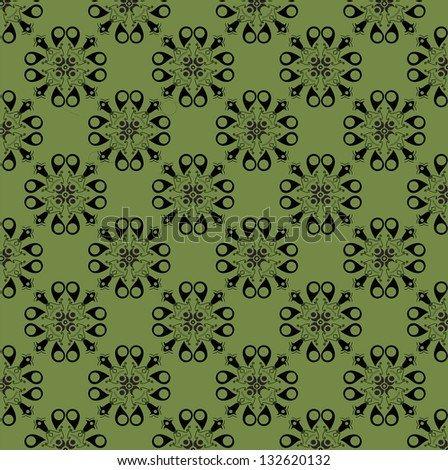 simple flowers in floral pattern - stock photo