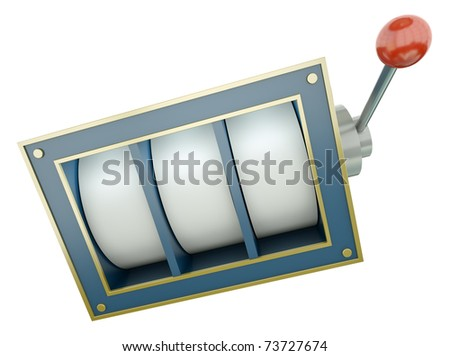 Simple fruit machine with blank reels over white background. 3D render. - stock photo