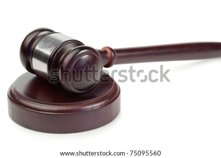 Simple gavel on a white background - stock photo