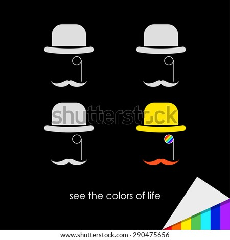 simple graphical conceptual illustration on the theme of feeling colors of life with cartoon hats for use in design for card, invitation, poster, banner, placard cover. Raster copy - stock photo