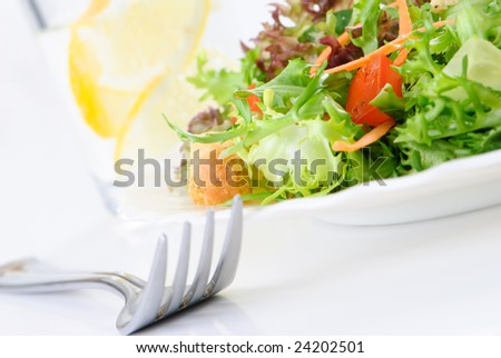Simple green leaf salad on white plate