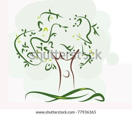 Simple green tree - stock photo
