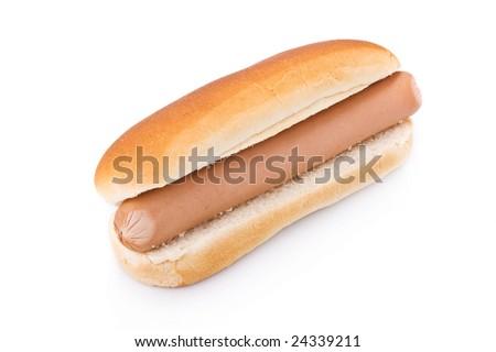 Simple Hotdog isolated on a white background - stock photo